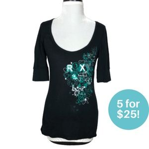 Roxy Graphic Tee Black Tee Elbow Length Sleeve XS